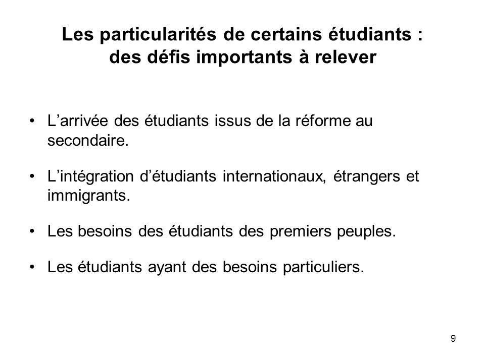 9 Les particularités de certains étudiants : des défis importants à relever Larrivée des étudiants issus de la réforme au secondaire.