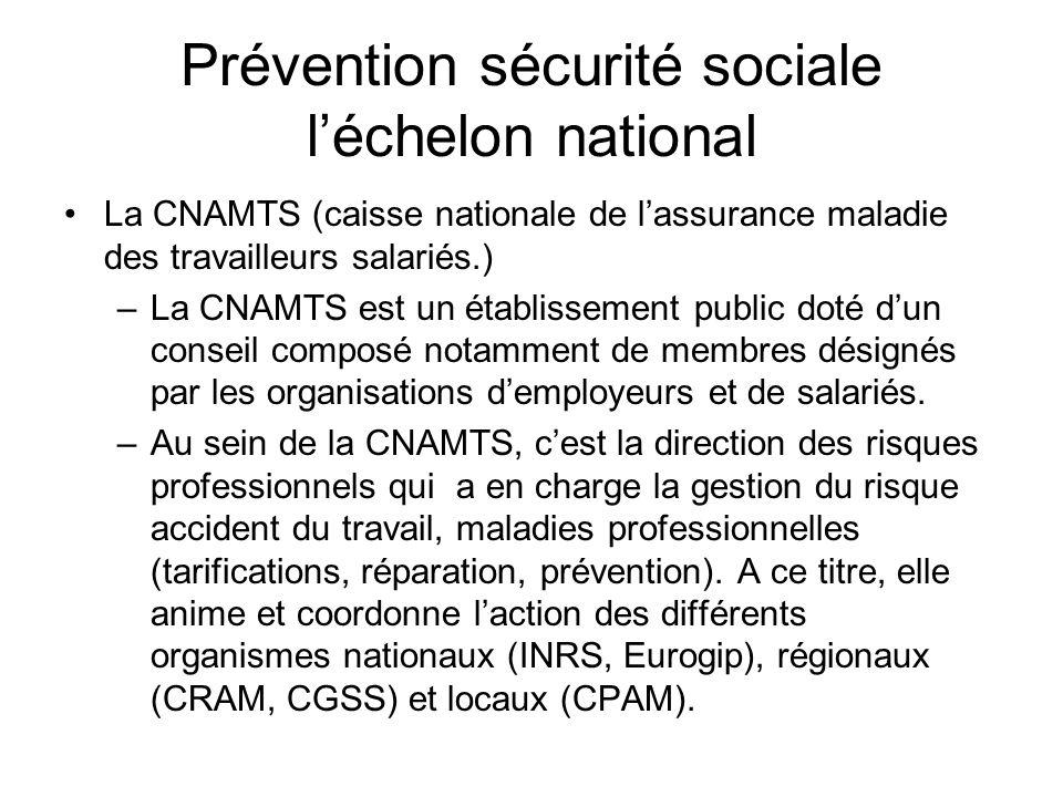 Prévention sécurité sociale léchelon national La CNAMTS (caisse nationale de lassurance maladie des travailleurs salariés.) –La CNAMTS est un établiss