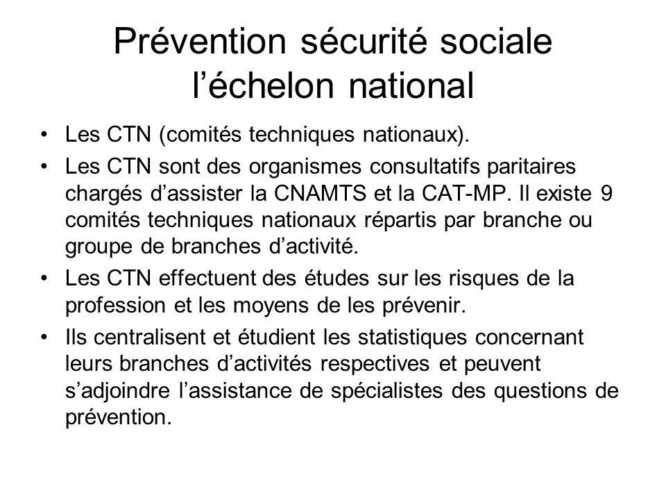 Prévention sécurité sociale léchelon national Les CTN (comités techniques nationaux). Les CTN sont des organismes consultatifs paritaires chargés dass