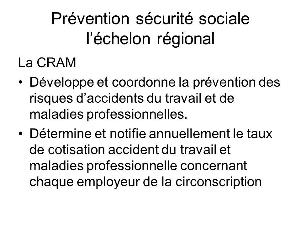 Prévention sécurité sociale léchelon régional La CRAM Développe et coordonne la prévention des risques daccidents du travail et de maladies profession
