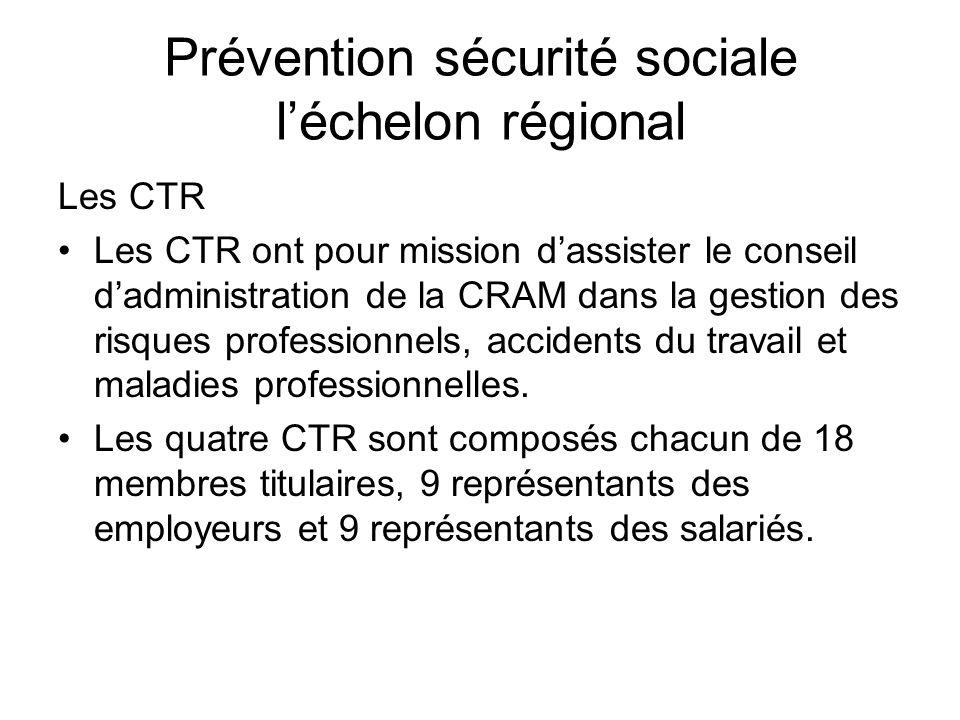 Prévention sécurité sociale léchelon régional Les CTR Les CTR ont pour mission dassister le conseil dadministration de la CRAM dans la gestion des ris