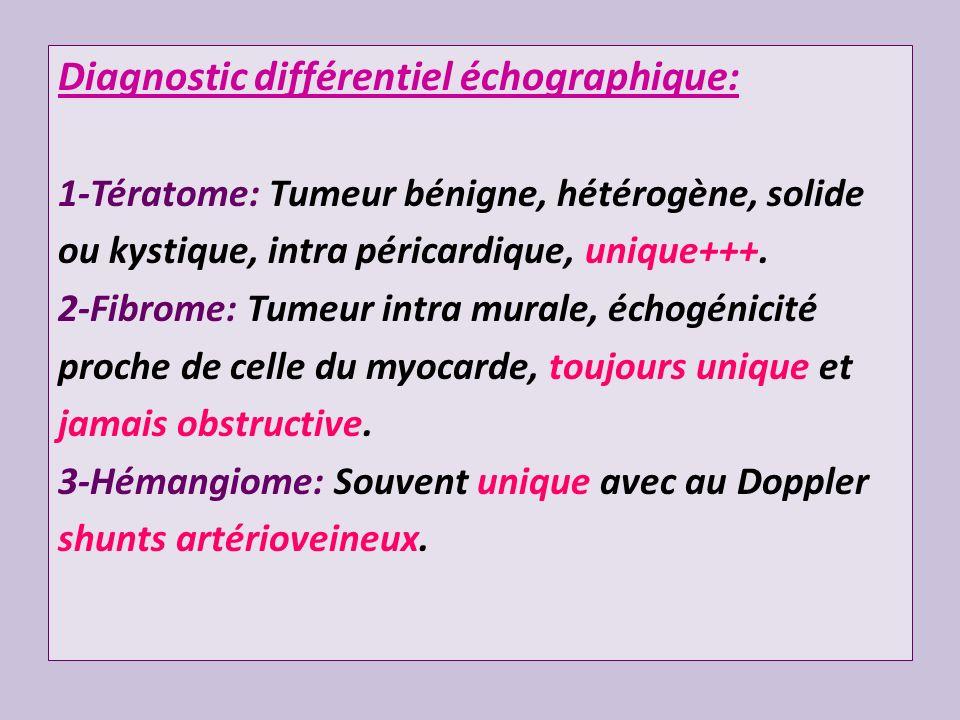 Diagnostic différentiel échographique: 1-Tératome: Tumeur bénigne, hétérogène, solide ou kystique, intra péricardique, unique+++. 2-Fibrome: Tumeur in