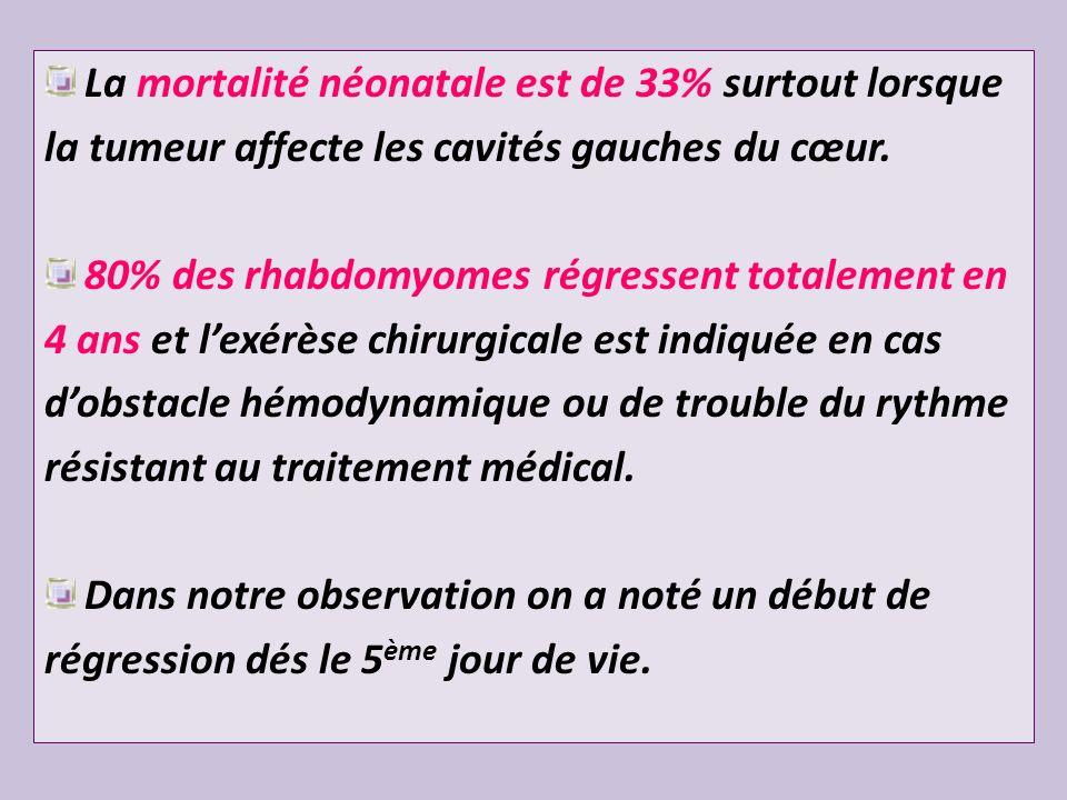La mortalité néonatale est de 33% surtout lorsque la tumeur affecte les cavités gauches du cœur. 80% des rhabdomyomes régressent totalement en 4 ans e