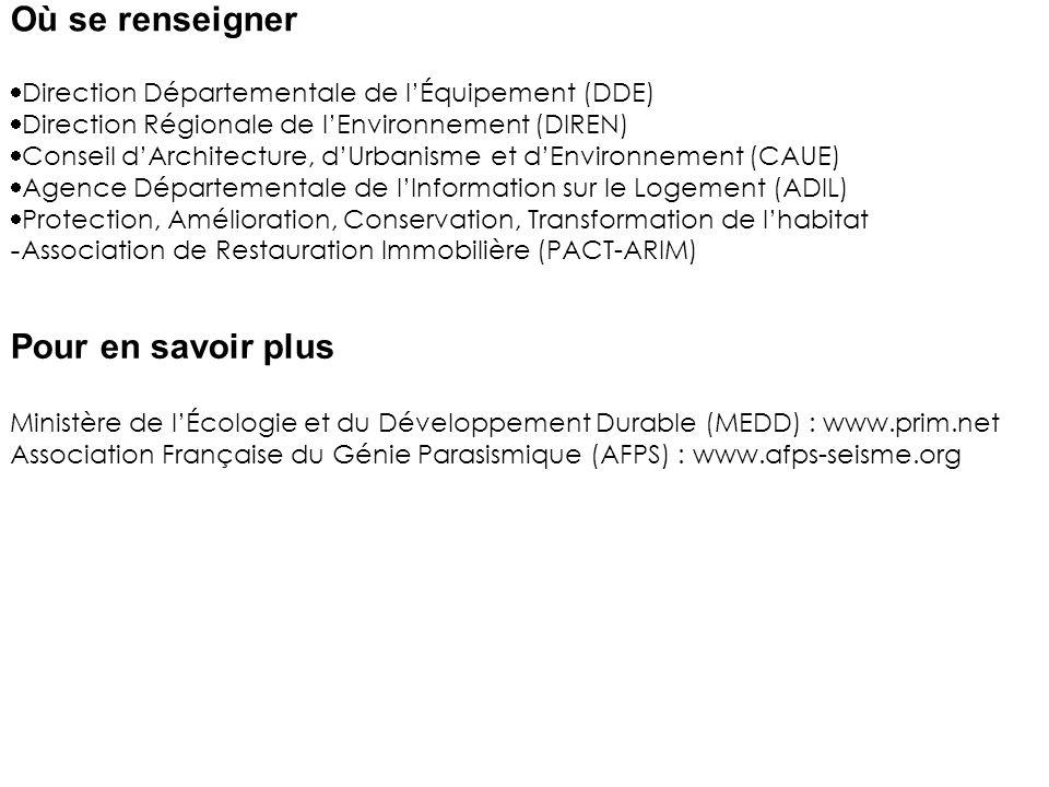 Direction Départementale de lÉquipement (DDE) Direction Régionale de lEnvironnement (DIREN) Conseil dArchitecture, dUrbanisme et dEnvironnement (CAUE) Agence Départementale de lInformation sur le Logement (ADIL) Protection, Amélioration, Conservation, Transformation de lhabitat - Association de Restauration Immobilière (PACT-ARIM) Ministère de lÉcologie et du Développement Durable (MEDD) : www.prim.net Association Française du Génie Parasismique (AFPS) : www.afps-seisme.org Où se renseigner Pour en savoir plus