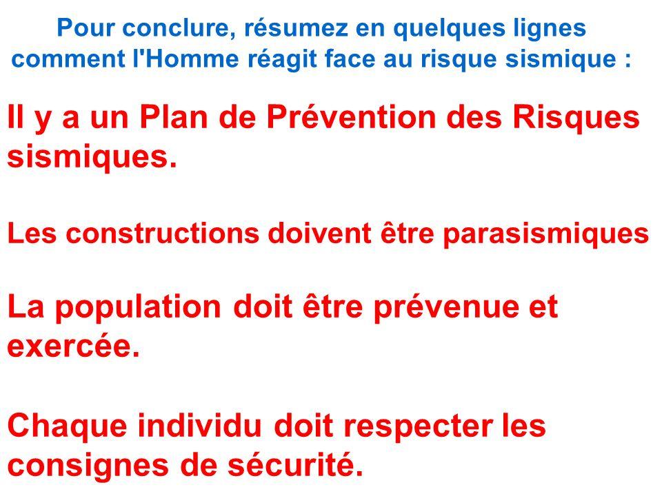 Pour conclure, résumez en quelques lignes comment l Homme réagit face au risque sismique : Il y a un Plan de Prévention des Risques sismiques.