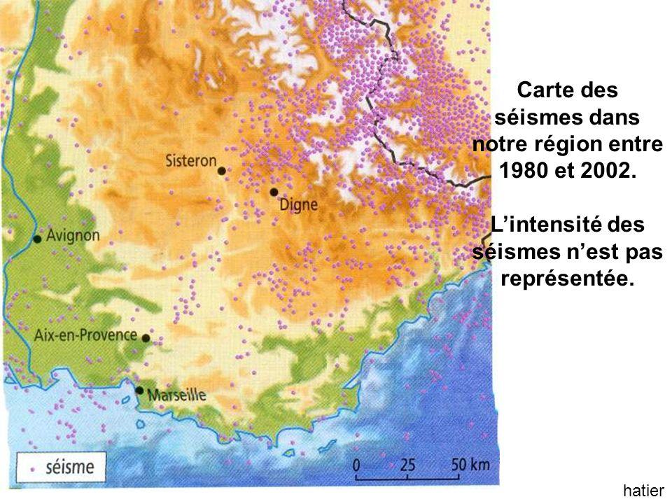 hatier Carte des séismes dans notre région entre 1980 et 2002.