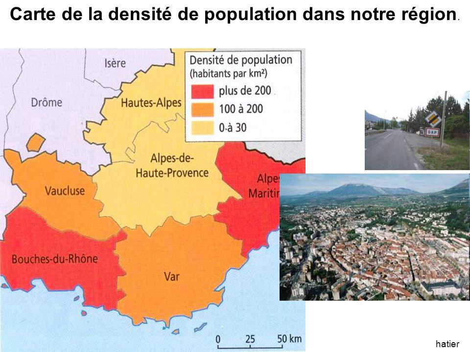 hatier Carte de la densité de population dans notre région.