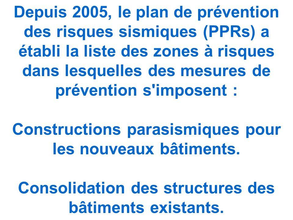 Depuis 2005, le plan de prévention des risques sismiques (PPRs) a établi la liste des zones à risques dans lesquelles des mesures de prévention s imposent : Constructions parasismiques pour les nouveaux bâtiments.