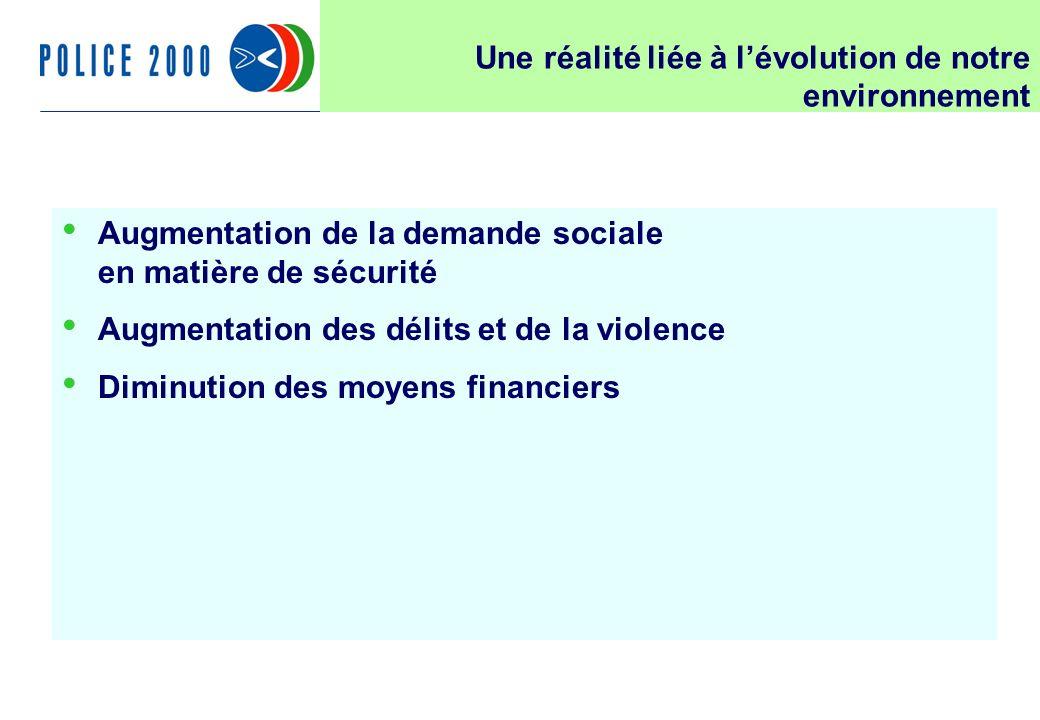 14 Une réalité liée à lévolution de notre environnement Augmentation de la demande sociale en matière de sécurité Augmentation des délits et de la violence Diminution des moyens financiers