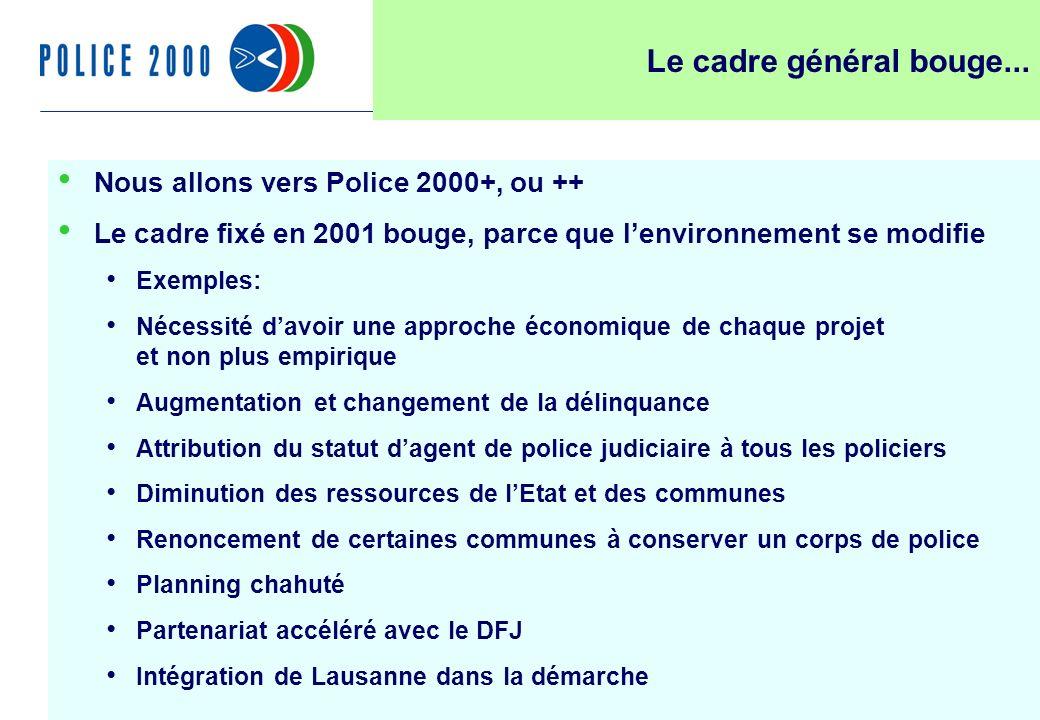 16 Le cadre général bouge... Nous allons vers Police 2000+, ou ++ Le cadre fixé en 2001 bouge, parce que lenvironnement se modifie Exemples: Nécessité