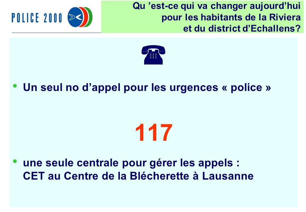 20 Un seul no dappel pour les urgences « police » 117 une seule centrale pour gérer les appels : CET au Centre de la Blécherette à Lausanne Qu est-ce qui va changer aujourdhui pour les habitants de la Riviera et du district dEchallens