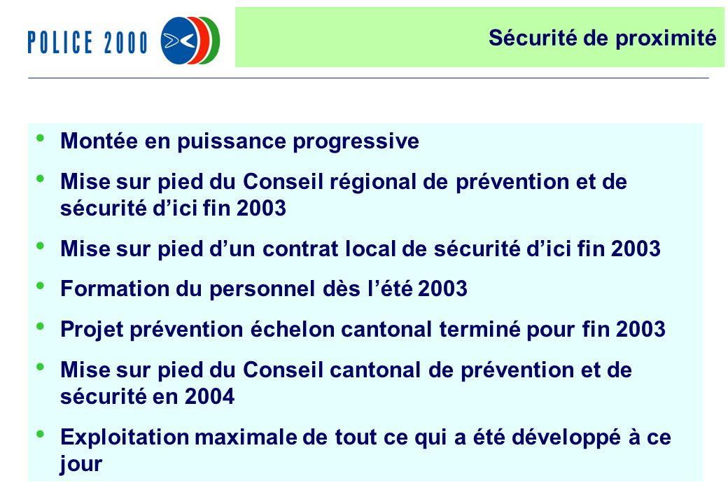 31 Montée en puissance progressive Mise sur pied du Conseil régional de prévention et de sécurité dici fin 2003 Mise sur pied dun contrat local de séc