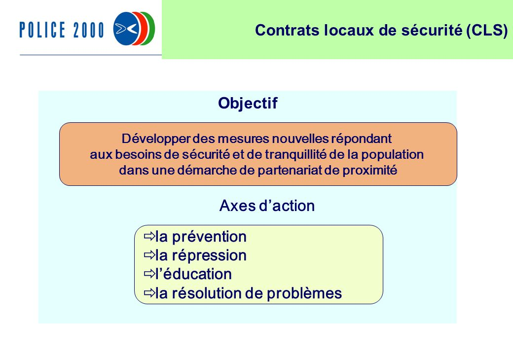 32 Objectif Développer des mesures nouvelles répondant aux besoins de sécurité et de tranquillité de la population dans une démarche de partenariat de proximité Axes daction la prévention la répression léducation la résolution de problèmes Contrats locaux de sécurité (CLS)