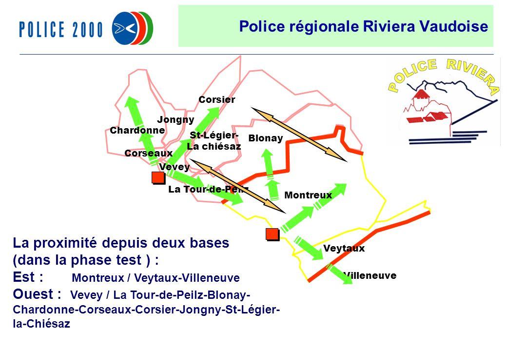 36 Villeneuve Chardonne Jongny Vevey Corsier Corseaux Blonay St-Légier- La chiésaz La Tour-de-Peilz Veytaux Montreux Police régionale Riviera Vaudoise La proximité depuis deux bases (dans la phase test ) : Est : Montreux / Veytaux-Villeneuve Ouest : Vevey / La Tour-de-Peilz-Blonay- Chardonne-Corseaux-Corsier-Jongny-St-Légier- la-Chiésaz