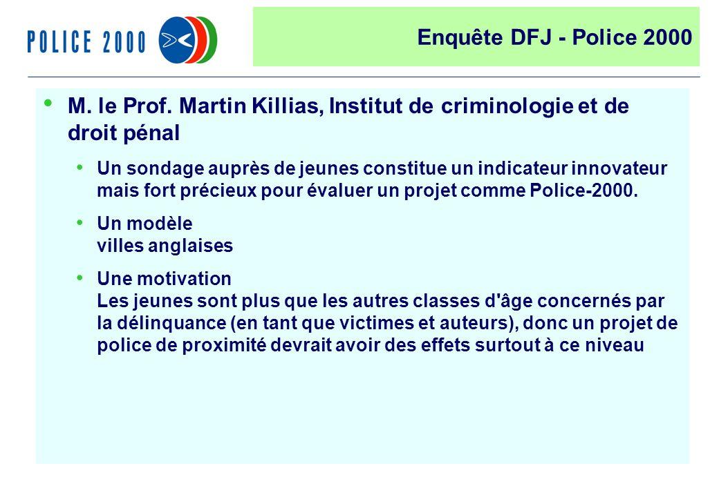 42 M. le Prof. Martin Killias, Institut de criminologie et de droit pénal Un sondage auprès de jeunes constitue un indicateur innovateur mais fort pré