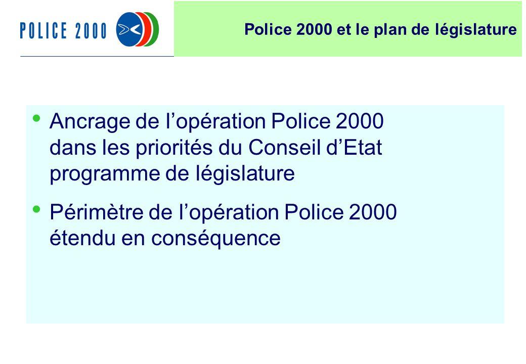 5 Ancrage de lopération Police 2000 dans les priorités du Conseil dEtat programme de législature Périmètre de lopération Police 2000 étendu en conséquence Police 2000 et le plan de législature