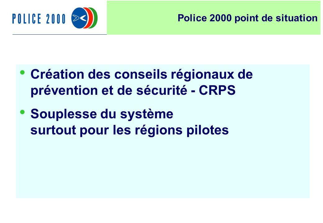 7 Création des conseils régionaux de prévention et de sécurité - CRPS Souplesse du système surtout pour les régions pilotes Police 2000 point de situa