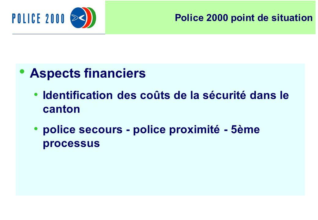 8 Aspects financiers Identification des coûts de la sécurité dans le canton police secours - police proximité - 5ème processus Police 2000 point de si