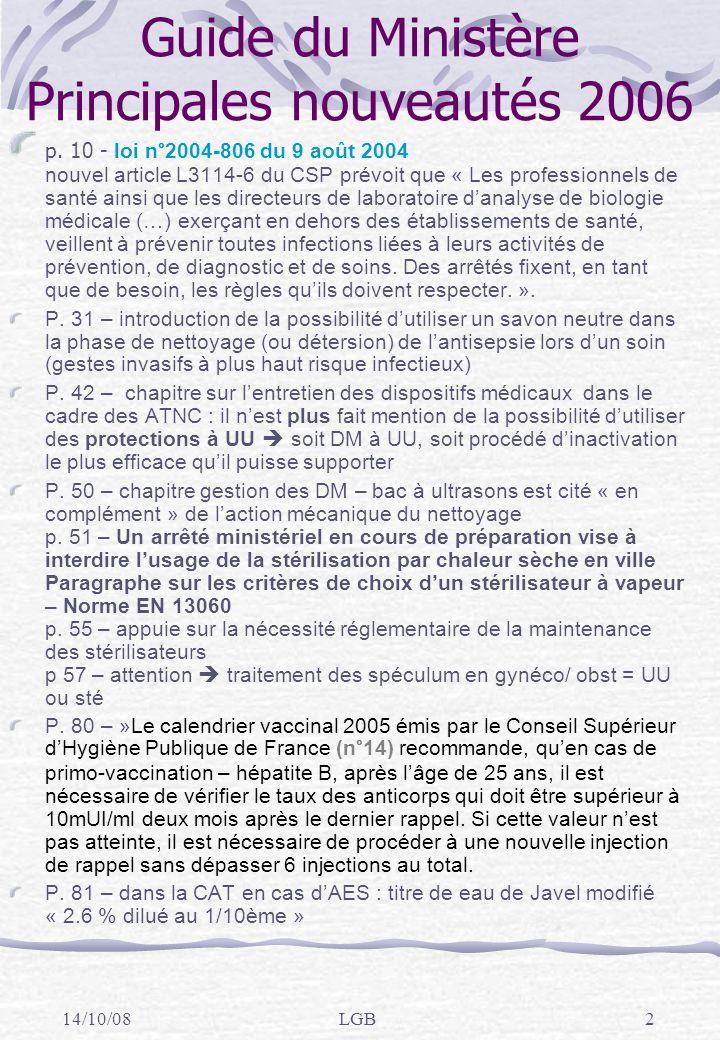 14/10/08LGB2 Guide du Ministère Principales nouveautés 2006 p.