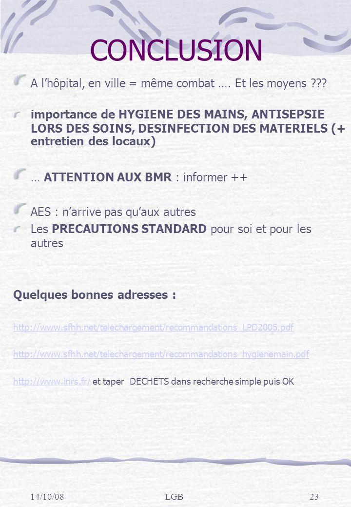 14/10/08LGB23 CONCLUSION A lhôpital, en ville = même combat ….