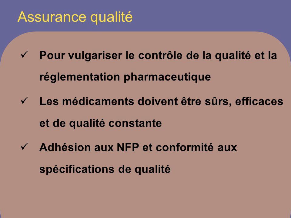 Assurance qualité Pour vulgariser le contrôle de la qualité et la réglementation pharmaceutique Les médicaments doivent être sûrs, efficaces et de qualité constante Adhésion aux NFP et conformité aux spécifications de qualité