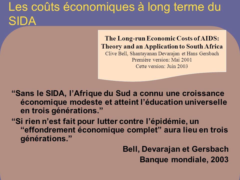Les coûts économiques à long terme du SIDA Sans le SIDA, lAfrique du Sud a connu une croissance économique modeste et atteint léducation universelle en trois générations.