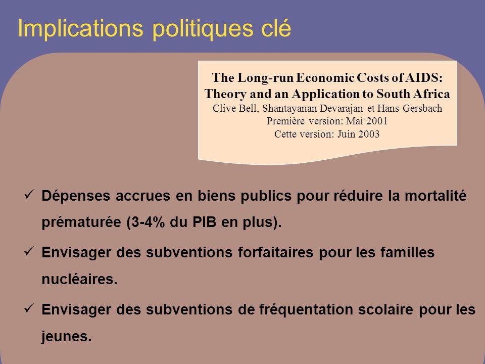 Implications politiques clé Dépenses accrues en biens publics pour réduire la mortalité prématurée (3-4% du PIB en plus).