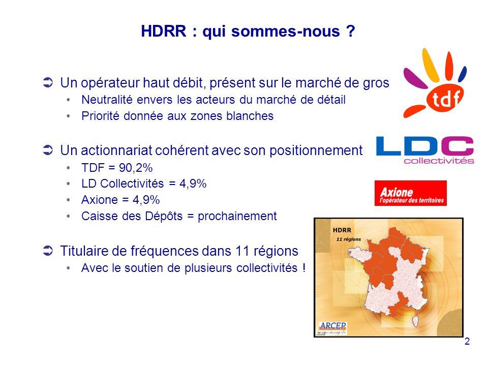 2 HDRR : qui sommes-nous ? Un opérateur haut débit, présent sur le marché de gros Neutralité envers les acteurs du marché de détail Priorité donnée au