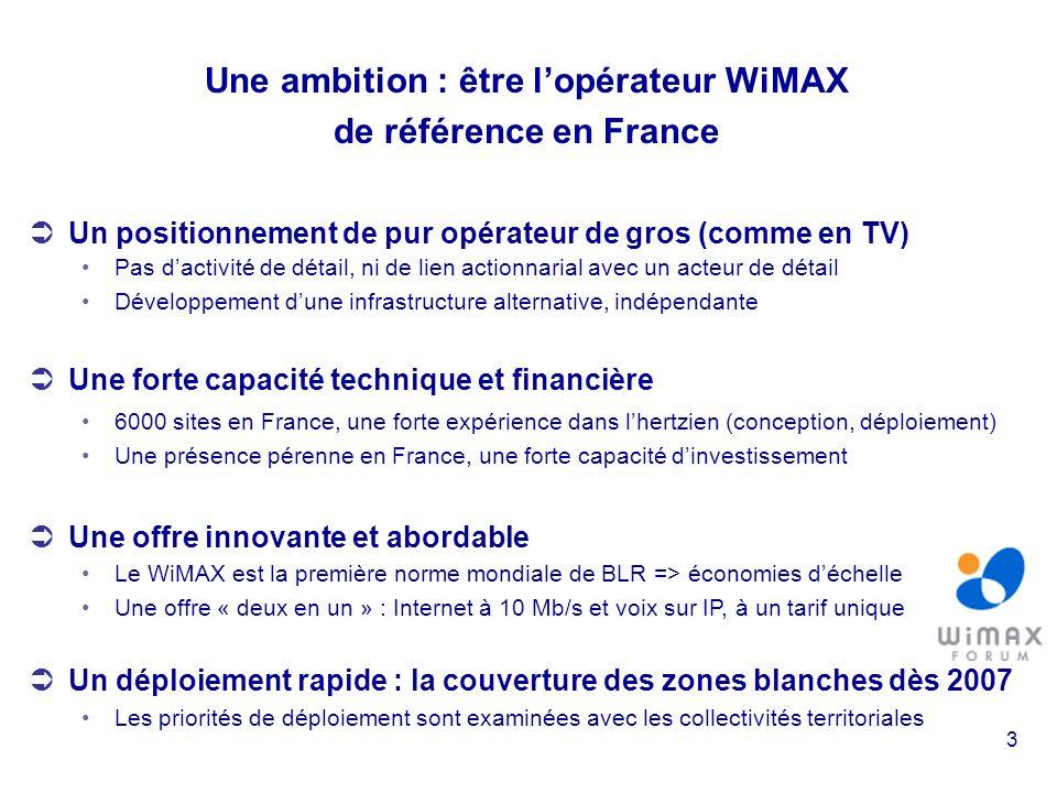 3 Une ambition : être lopérateur WiMAX de référence en France Un positionnement de pur opérateur de gros (comme en TV) Pas dactivité de détail, ni de