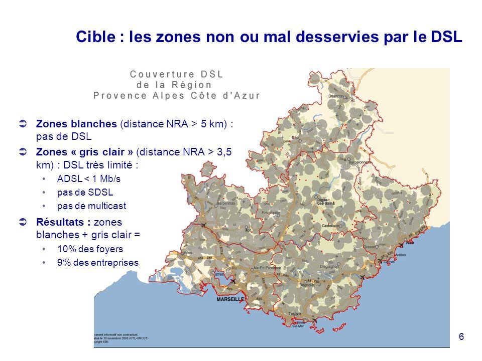 6 Cible : les zones non ou mal desservies par le DSL Zones blanches (distance NRA > 5 km) : pas de DSL Zones « gris clair » (distance NRA > 3,5 km) : DSL très limité : ADSL < 1 Mb/s pas de SDSL pas de multicast Résultats : zones blanches + gris clair = 10% des foyers 9% des entreprises