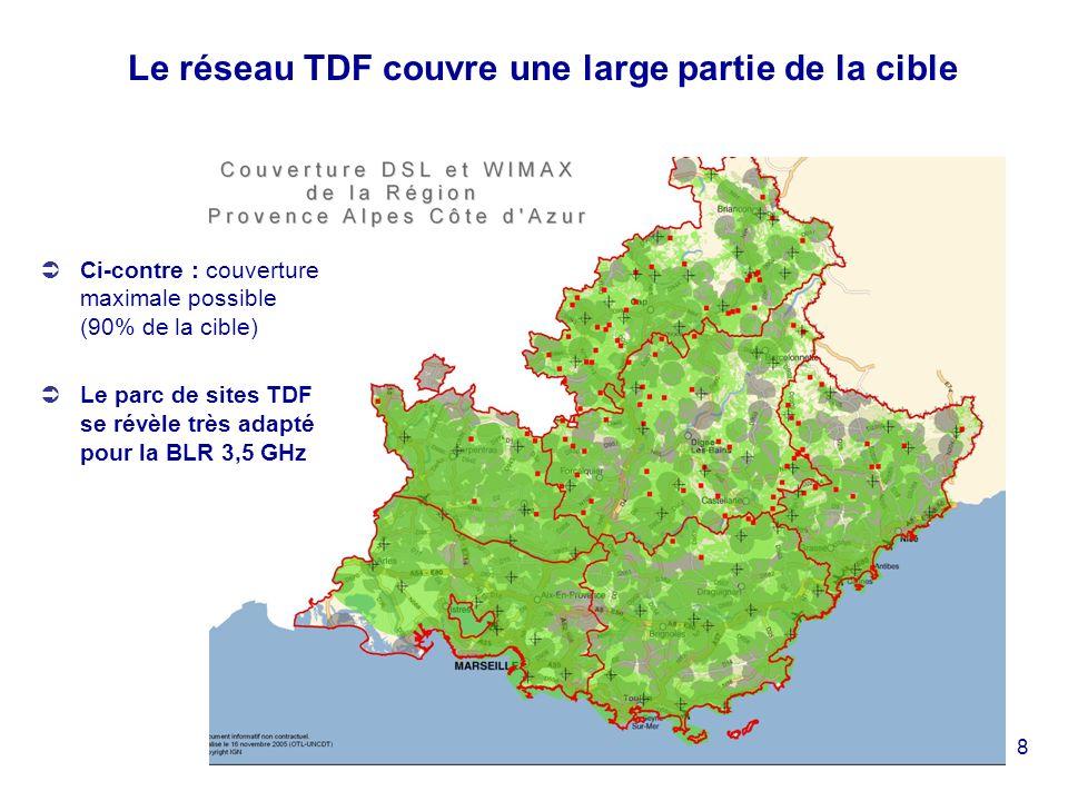 8 Le réseau TDF couvre une large partie de la cible Ci-contre : couverture maximale possible (90% de la cible) Le parc de sites TDF se révèle très adapté pour la BLR 3,5 GHz