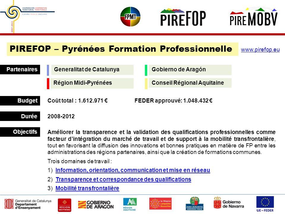 Budget Durée Partenaires 2008-2012 Coût total : 1.612.971 FEDER approuvé: 1.048.432 PIREFOP – Pyrénées Formation Professionnelle Objectifs www.pirefop
