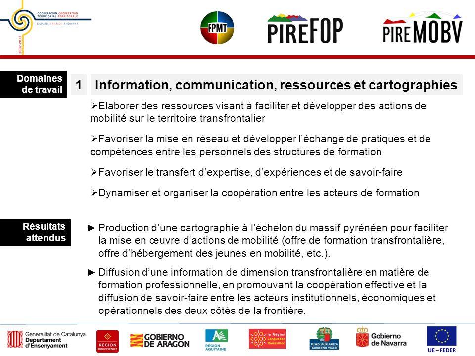 Domaines de travail Information, communication, ressources et cartographies1 Elaborer des ressources visant à faciliter et développer des actions de m