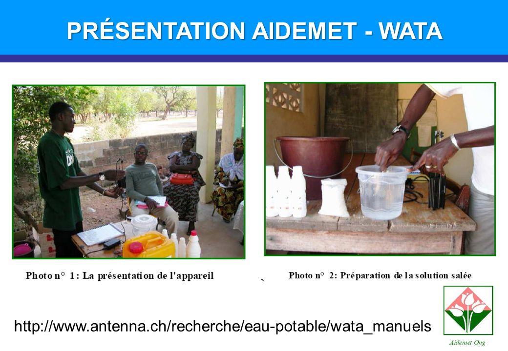 http://www.antenna.ch/recherche/eau-potable/wata_manuels PRÉSENTATION AIDEMET - WATA