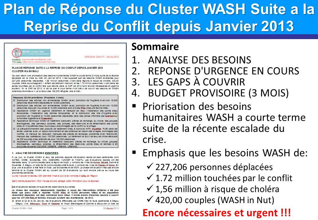 Plan de Réponse du Cluster WASH Suite a la Reprise du Conflit depuis Janvier 2013 Sommaire 1.ANALYSE DES BESOINS 2.REPONSE D'URGENCE EN COURS 3.LES GA