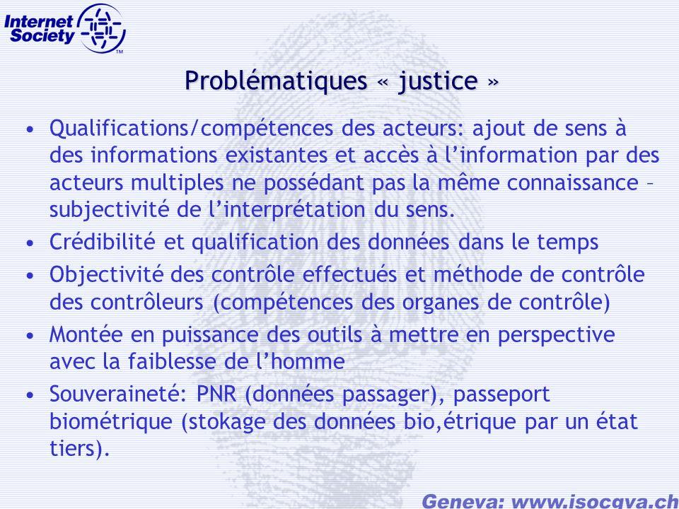 Problématiques « justice » Qualifications/compétences des acteurs: ajout de sens à des informations existantes et accès à linformation par des acteurs multiples ne possédant pas la même connaissance – subjectivité de linterprétation du sens.