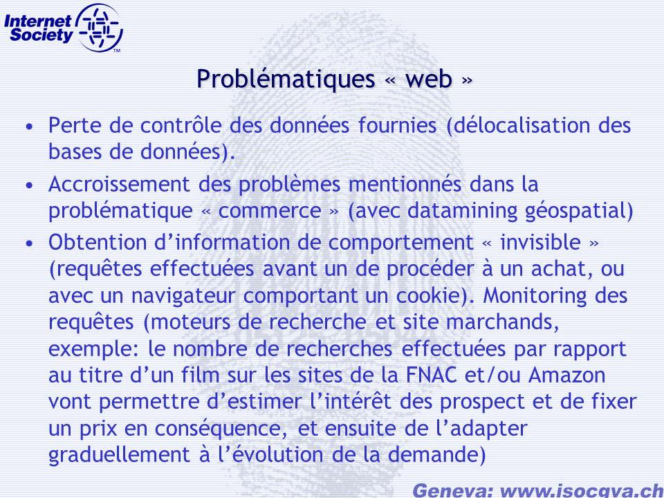 Problématiques « web » Perte de contrôle des données fournies (délocalisation des bases de données).