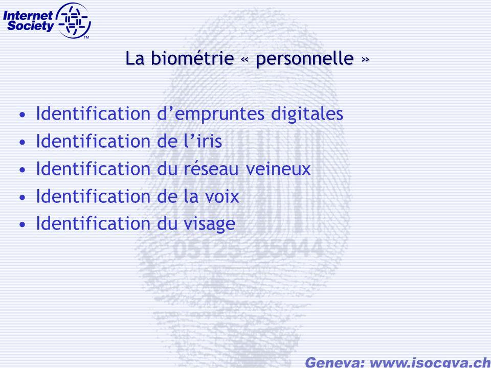 La biométrie « personnelle » Identification dempruntes digitales Identification de liris Identification du réseau veineux Identification de la voix Identification du visage