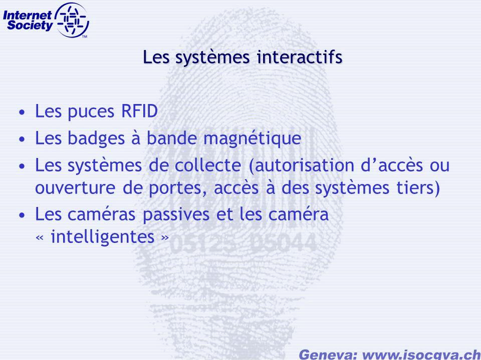Les systèmes interactifs Les puces RFID Les badges à bande magnétique Les systèmes de collecte (autorisation daccès ou ouverture de portes, accès à des systèmes tiers) Les caméras passives et les caméra « intelligentes »