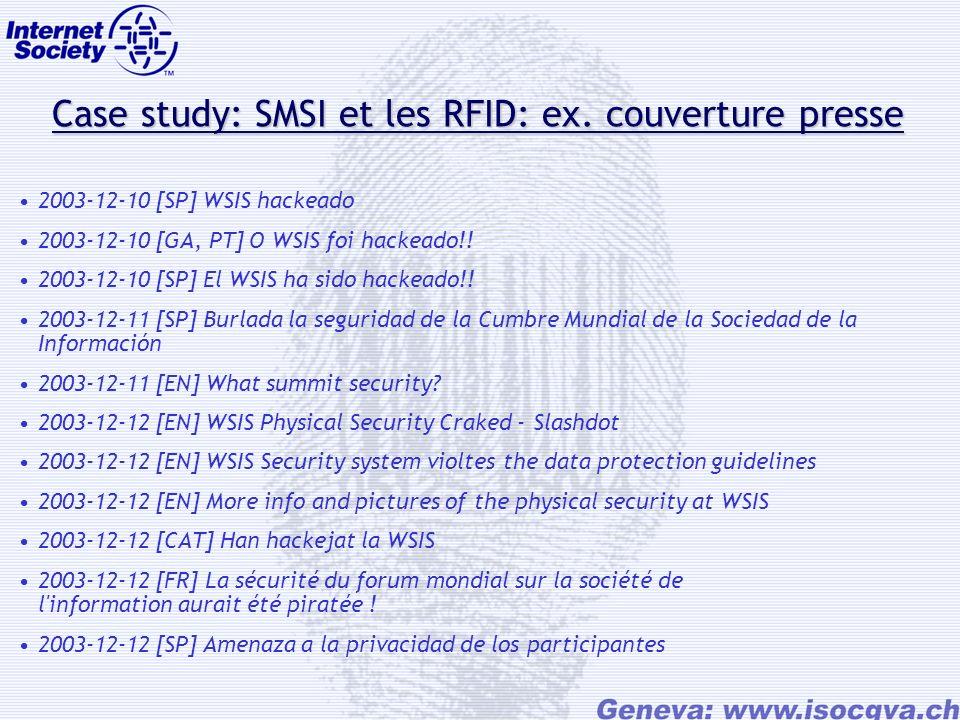Case study: SMSI et les RFID: ex. couverture presse Case study: SMSI et les RFID: ex.