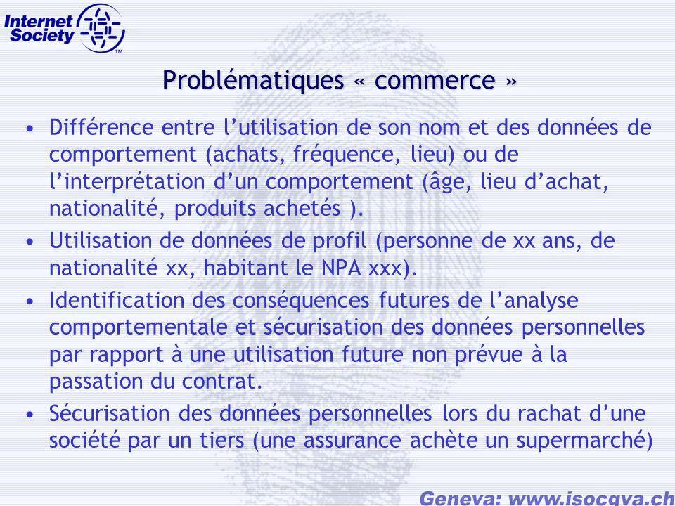 Problématiques « commerce » Différence entre lutilisation de son nom et des données de comportement (achats, fréquence, lieu) ou de linterprétation dun comportement (âge, lieu dachat, nationalité, produits achetés ).