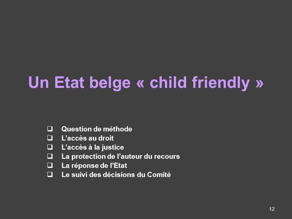 Un Etat belge « child friendly » Question de méthode Laccès au droit Laccès à la justice La protection de lauteur du recours La réponse de lEtat Le suivi des décisions du Comité 12