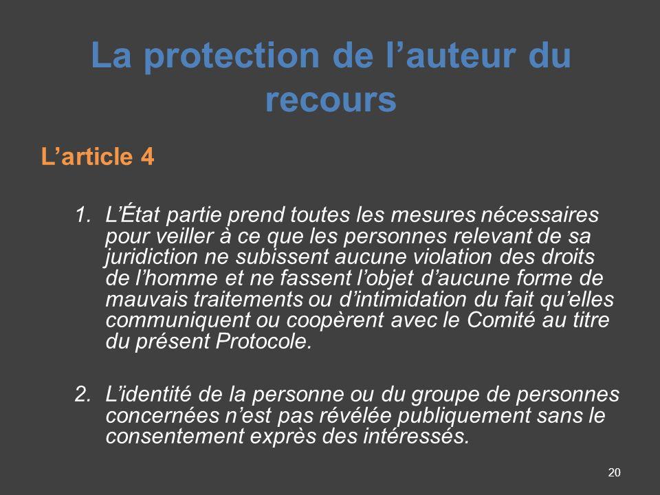 La protection de lauteur du recours Larticle 4 1.
