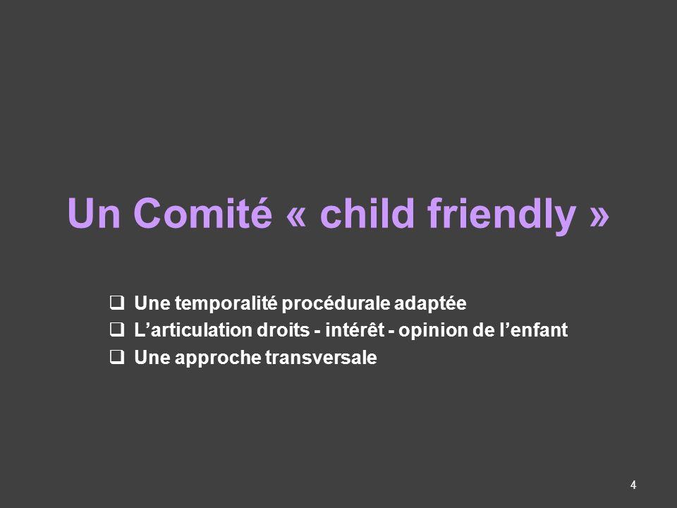 Un Comité « child friendly » Une temporalité procédurale adaptée Larticulation droits - intérêt - opinion de lenfant Une approche transversale 4