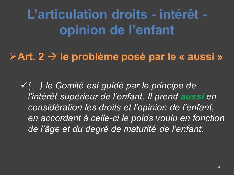Larticulation droits - intérêt - opinion de lenfant Art.