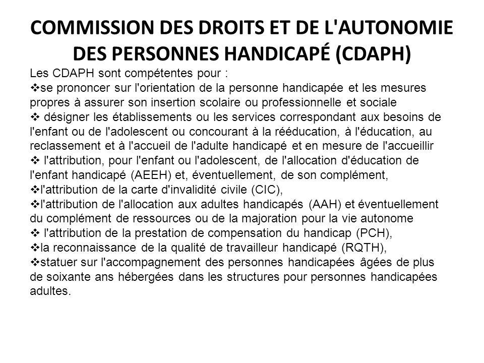 COMMISSION DES DROITS ET DE L'AUTONOMIE DES PERSONNES HANDICAPÉ (CDAPH) Les CDAPH sont compétentes pour : se prononcer sur l'orientation de la personn