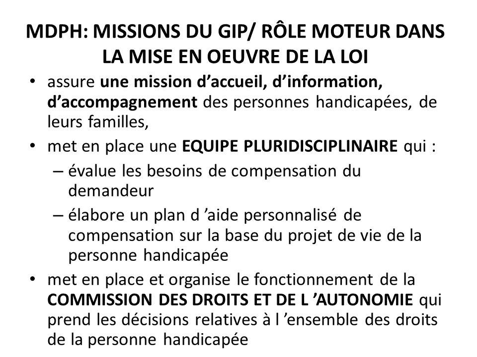 MDPH: MISSIONS DU GIP/ RÔLE MOTEUR DANS LA MISE EN OEUVRE DE LA LOI assure une mission daccueil, dinformation, daccompagnement des personnes handicapé