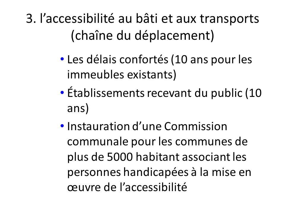 3. laccessibilité au bâti et aux transports (chaîne du déplacement) Les délais confortés (10 ans pour les immeubles existants) Établissements recevant