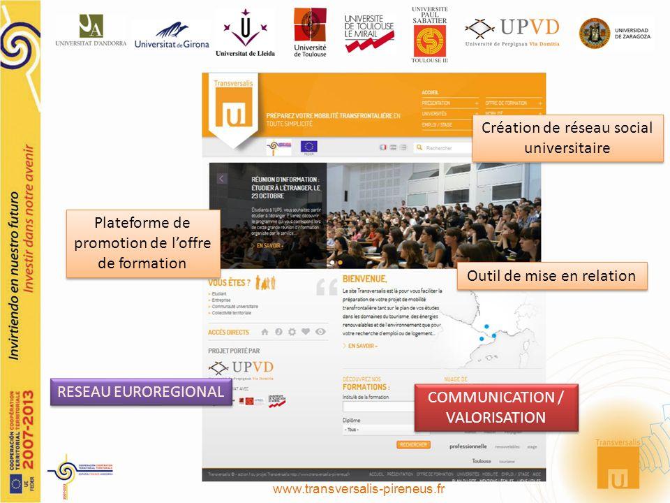 Plateforme de promotion de loffre de formation Création de réseau social universitaire Outil de mise en relation COMMUNICATION / VALORISATION RESEAU EUROREGIONAL www.transversalis-pireneus.fr