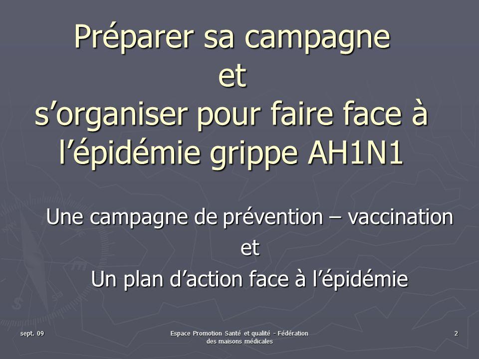 sept. 09Espace Promotion Santé et qualité - Fédération des maisons médicales 2 Une campagne de prévention – vaccination et Un plan daction face à lépi